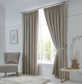 Dijon Blackout Natural Curtains with Pencil Pleat heading
