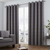 Camberwell Graphite Curtains With Eyelet heading