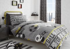 Football Children's Grey  Reversible Duvet Set