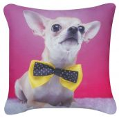 Pink Chihuahua with Yellow Bow Cushion