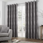 Elmwood Graphite Curtains With Eyelet heading