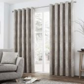 Elmwood Stone Ready Made Lined Eyelet Curtains