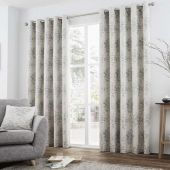 Elmwood Silver Ready Made Lined Eyelet Curtains