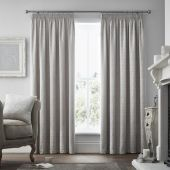 Voysey Silver Curtains With Pencil Pleat heading