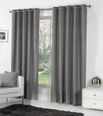 Sorbonne Charcoal Ready Made Eyelet Curtains