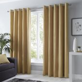 Sorbonne Ochre Curtains With Eyelet heading
