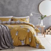 Catherine Lansfield Stags and Tartan Check Ochre Reversible Duvet Sets