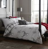 Catherine Lansfield Stags and Tartan Check Silver Reversible Duvet Sets