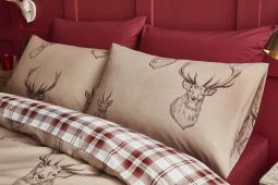 Catherine Lansfield Stags and Tartan Check Multi Reversible Duvet Sets