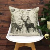 Riva Paoletti Advent Midnight Reindeer Embellished Cushion Cover, Cream, 45 x 45 Cm