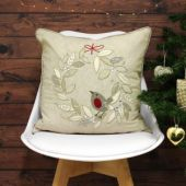 Riva Paoletti Advent Robin Wreath Embellished Cushion Cover, Cream, 45 x 45 Cm