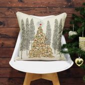 Riva Paoletti Advent Gold Christmas Tree Embellished Cushion Cover, Cream, 45 x 45 Cm