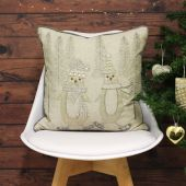 Riva Paoletti Advent Skating Penguins Embellished Cushion Cover, Cream, 45 x 45 Cm