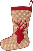 Large Dotted Christmas Stocking with Velvet Stag
