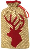 Dotted Christmas sack/bag with luxurious velvet stag