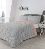 Brooklyn Fusion Reversible Grey Duvet Set